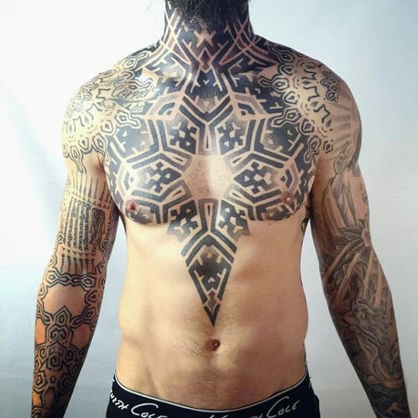Marvellous Pattern Tattoo Mens Chest
