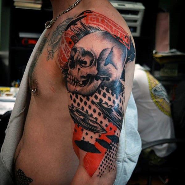 Marvellous Skull And Ufo Tattoo Guys Arms