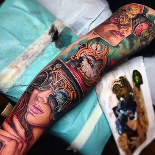 Marvellous Steampunk Tattoo Guys Sleeve