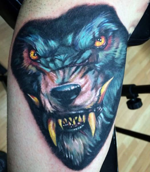Marvellous Werewolf Head Tattoo Mens Forearms