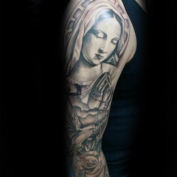 Mary The Blessed Virgin Mens Religious Themed Full Sleeve Tattoos