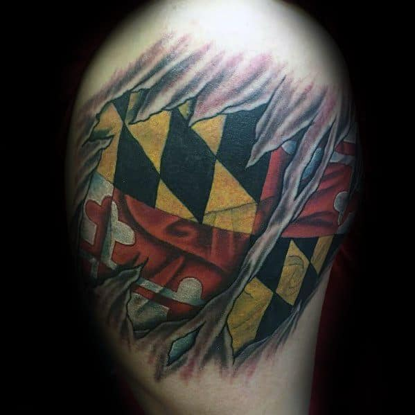 Maryland Flag Male Tattoos
