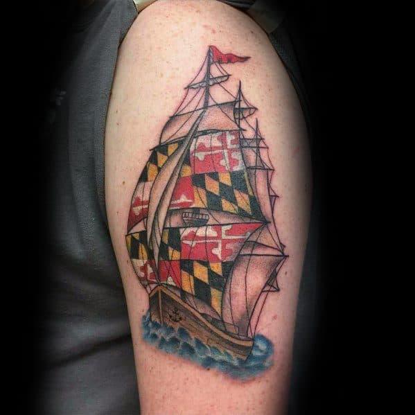 Maryland Flag Mens Tattoos