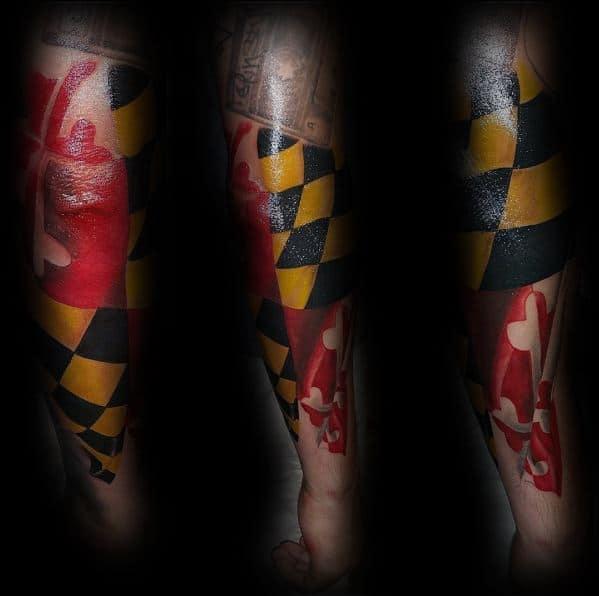 Maryland Flag Tattoo Design Ideas For Men
