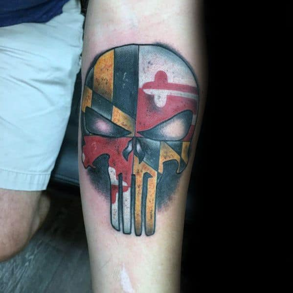 Maryland Flag Tattoo Designs For Gentlemen