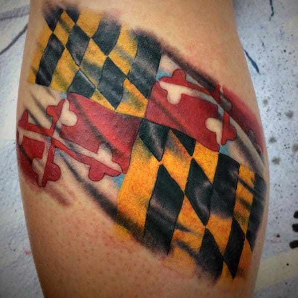 Maryland Flag Tattoo Designs For Men