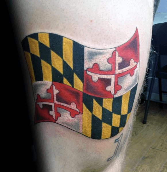 Maryland Flag Tattoos For Men