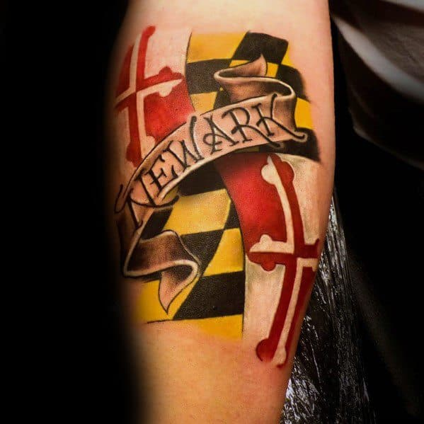Maryland Flag Themed Tattoo Ideas For Men