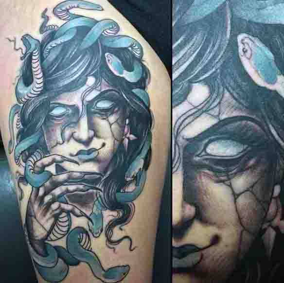 Mascline Abstract Mens Medusa Tattoo With Blue Snakes On Upper Arm