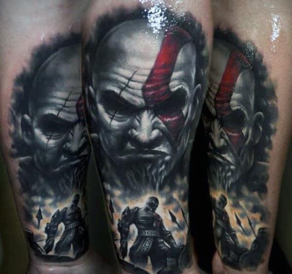 Mascline Guys Realistic Kratos Themed Forearm Tattoo