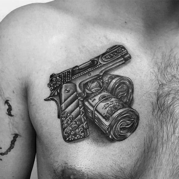 Masculine 1911 Handgun With Money Stack Rolls Tattoos For Men