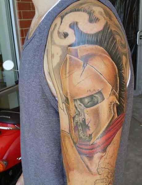 Masculine 300 Spartans Tattoo On Arm