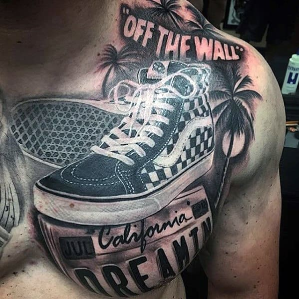 Masculine 3d California Vans Shoes Tattoo On Chest
