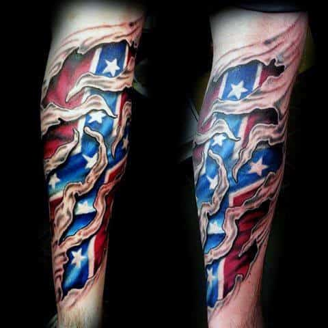 Masculine 3d Confederate Rebel Flag Male Tattoo On Forearm