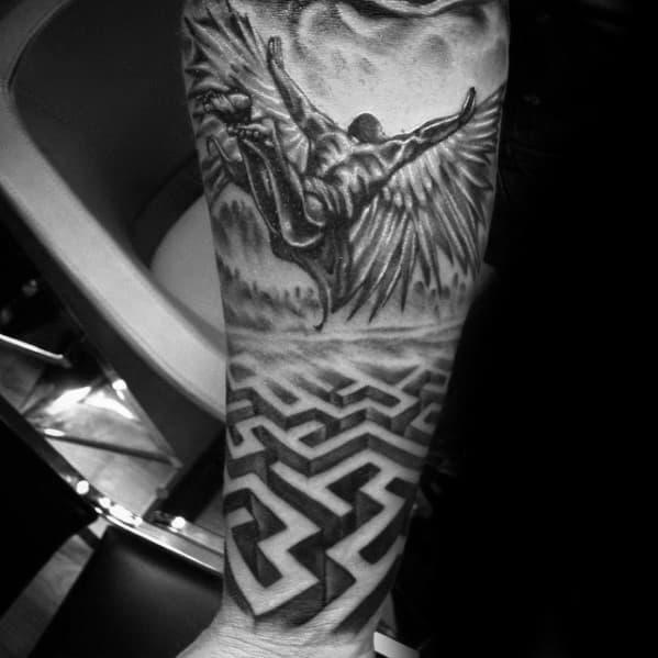Masculine 3d Forearm Maze Sleeve Tattoos For Men