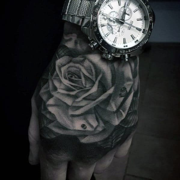 Masculine 3d Guys Hand Rose Flower Tattoos