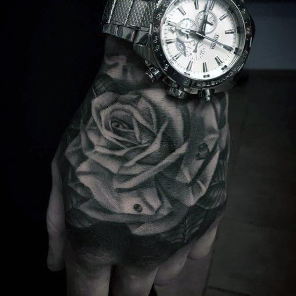 Masculine 3d Guys Hand Rose Flower Tattoos