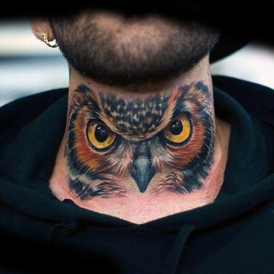 Masculine 3d Owl Neck Tattoos For Men