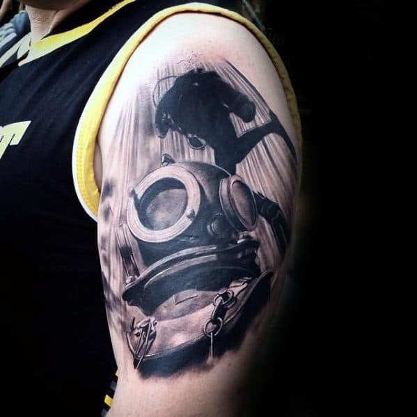 Masculine 3d Realistic Diving Helmet Arm Tattoos For Men