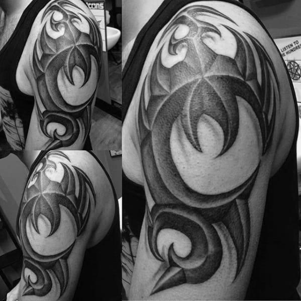 Masculine 3d Tribal Male Arm Tattoo Ideas