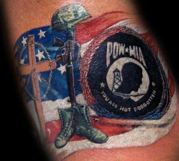 Masculine American Flag Pow Mia Tattoos For Men