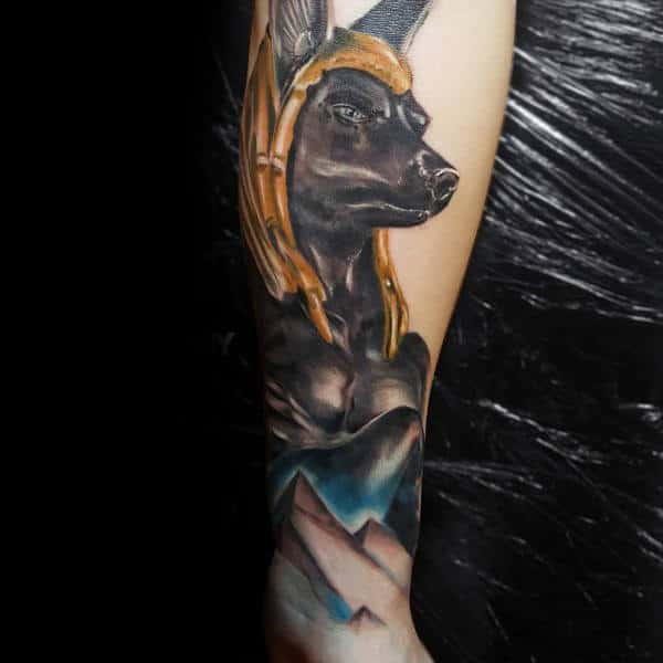 Masculine Anubis Watercolor Male Tattoo On Forearm