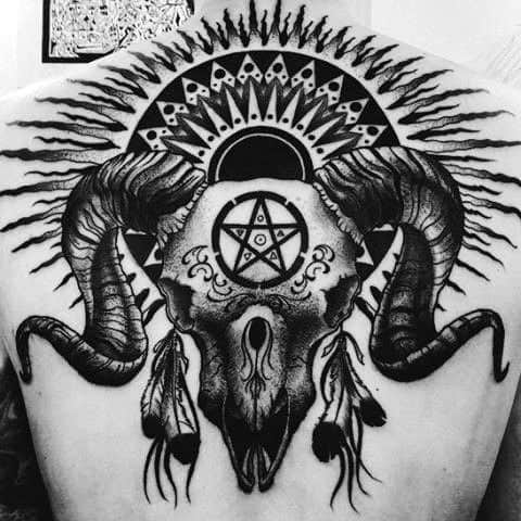 Masculine Aries Ram Skull Mens Back Tattoo