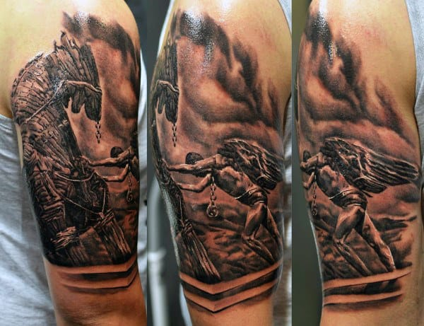 Masculine Arm Icarus Tattoos For Guys