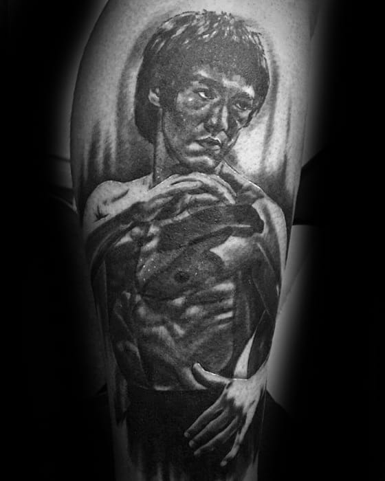 Masculine Arm Portrait Bruce Lee Tattoos For Men