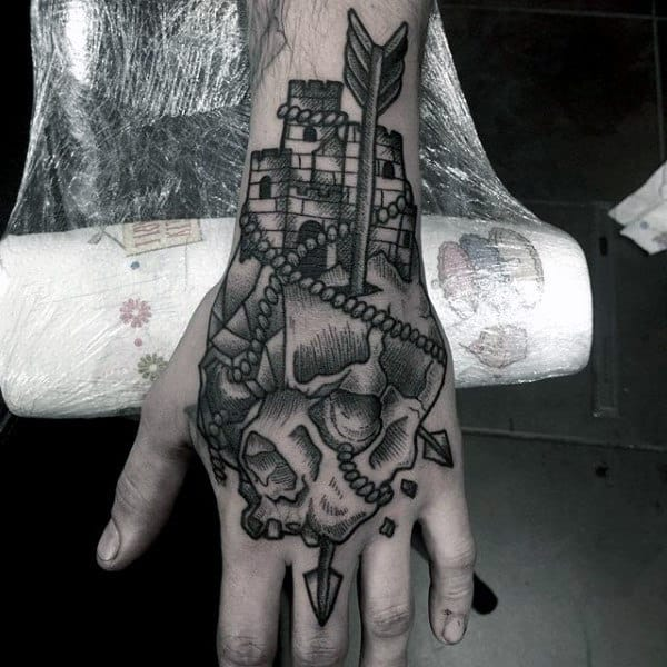 Masculine Arrow Through Skull Castle Hand Tattoos For Males
