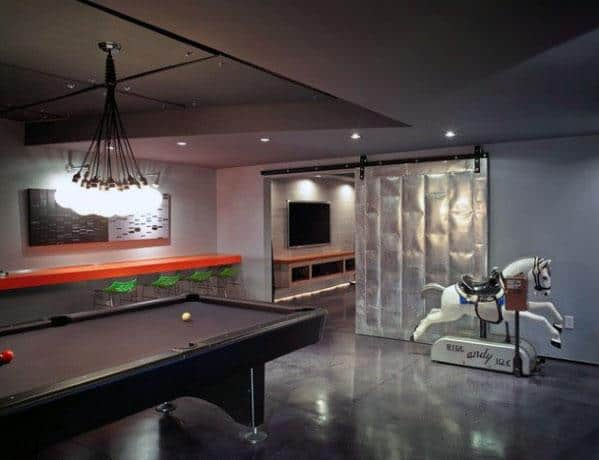 Masculine Bachelor Pad Finished Basement Design Ideas With Polished Concrete Floors