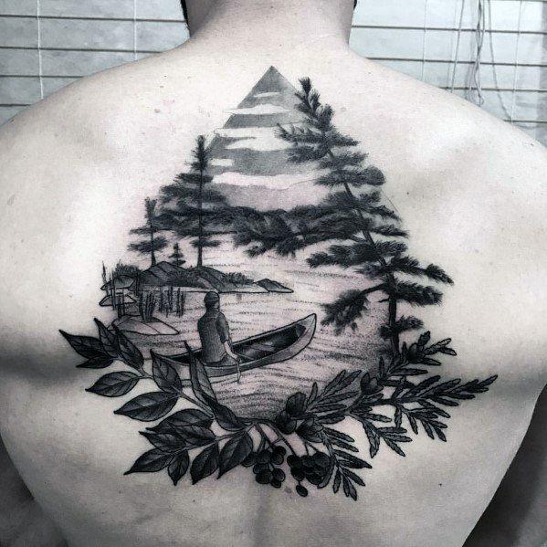 Masculine Back Canoe Tattoos For Men