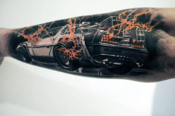 Masculine Back To The Future Delorean Outer Forearm Tattoo Ideas For Men