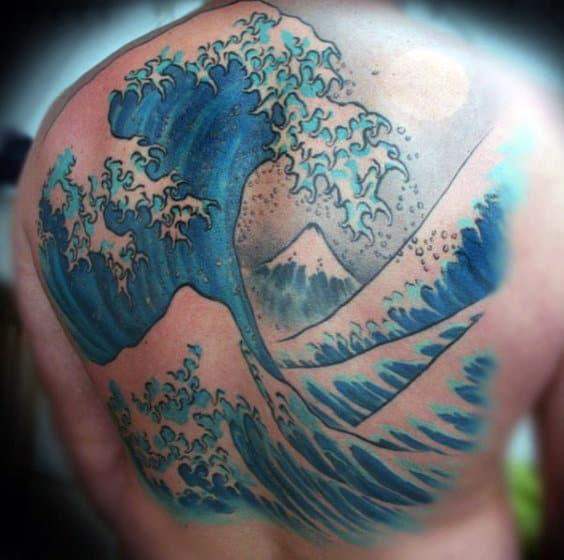 Masculine Back Wave Tattoo Designs For Men
