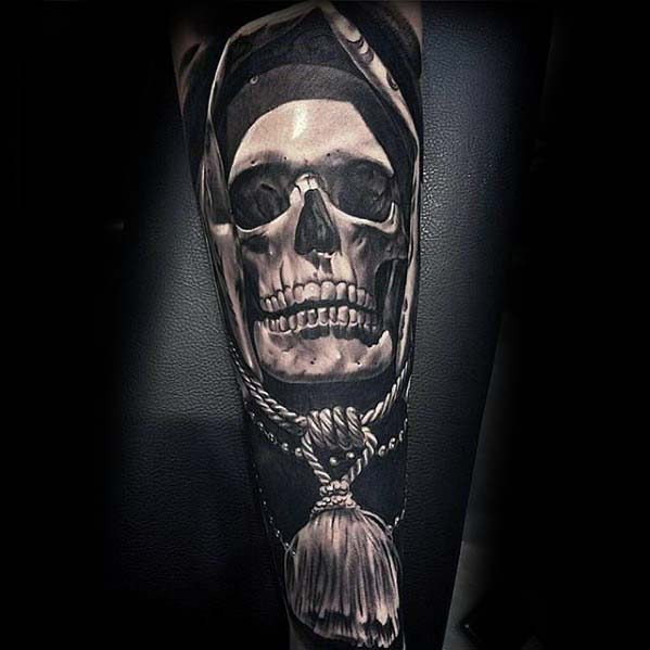 Masculine Badass Blackwork Skull With Rope Forearm Sleeve Tattoos For Men