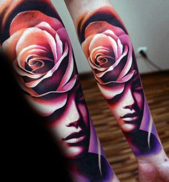 Masculine Badass Rose Tattoos For Men