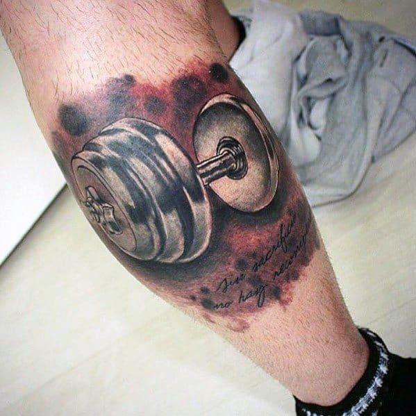 Masculine Barbell Tattoos For Men