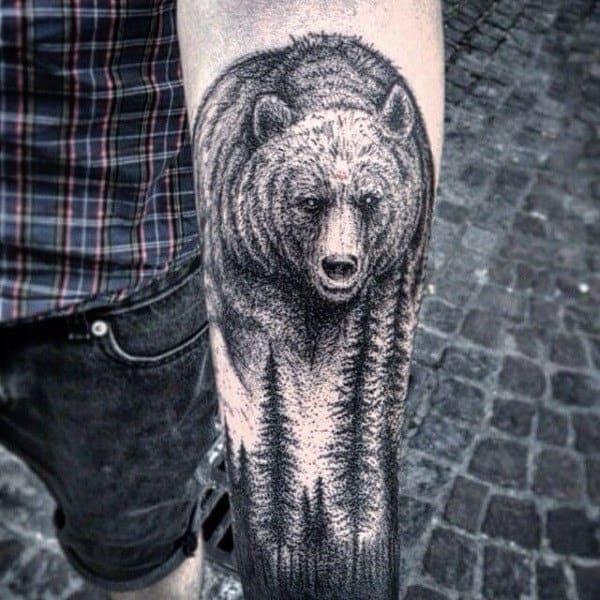 Masculine Bear Dotwork Guys Tree Sleeve Tattoo