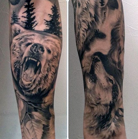 Masculine Bear Paws Tattoos