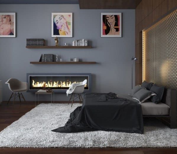 masculine bedroom fireplace idea - Masculine Bedroom Design