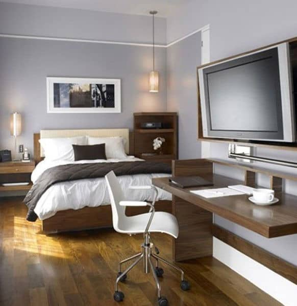 Masculine Bedroom With Office Design