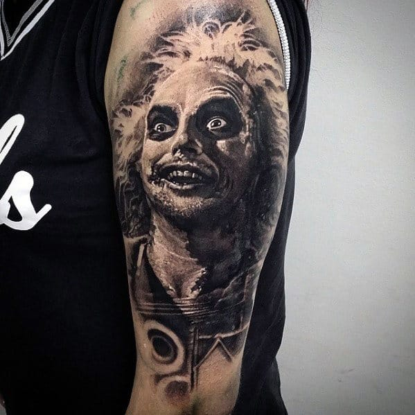 Masculine Beetlejuice Themed Mens Shaded Half Sleeve Tattoo Design Ideas