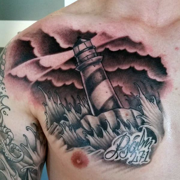 Masculine Bible Verse Tattoos For Men On Chest With Lighthouse