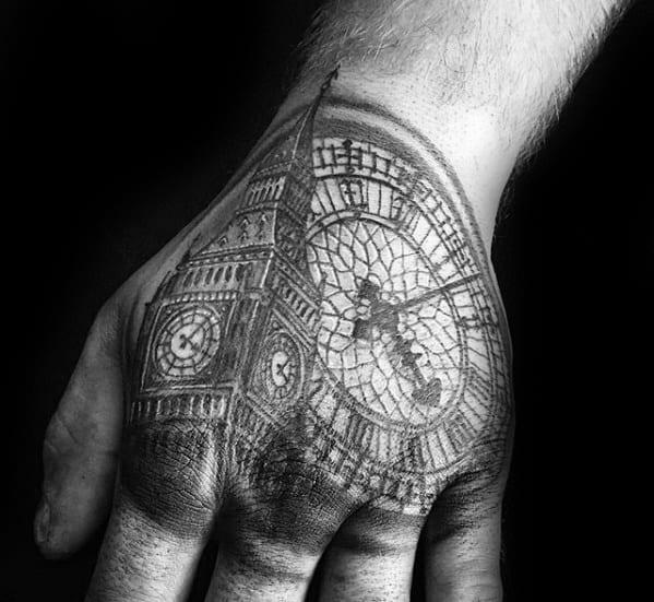 Masculine Big Ben Tattoos For Men On Hand