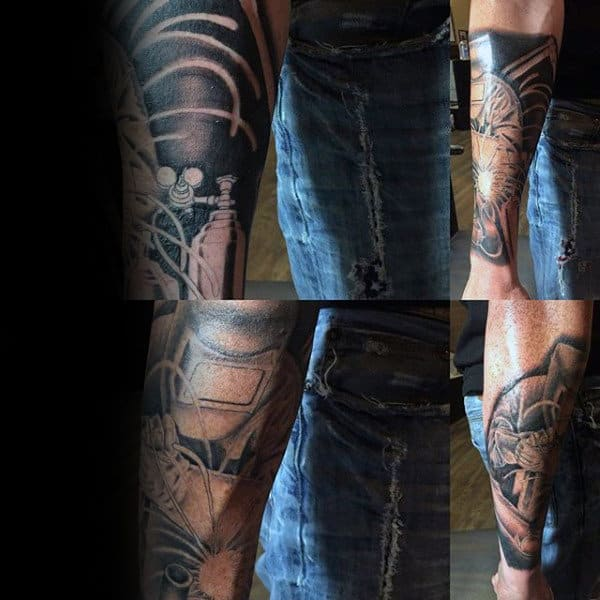 Masculine Black And Grey Guys Forearm Welding Tattoos