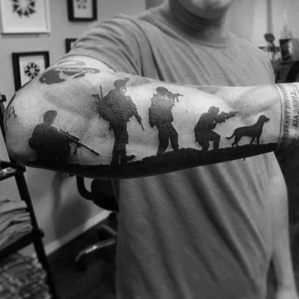 Masculine Black Ink Marine Soliders Tattoo On Man
