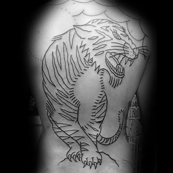Masculine Black Ink Outline Traditional Full Back Mens Tattoos