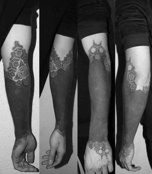 Masculine Blackout Forearm Sleeve Tattoos For Men