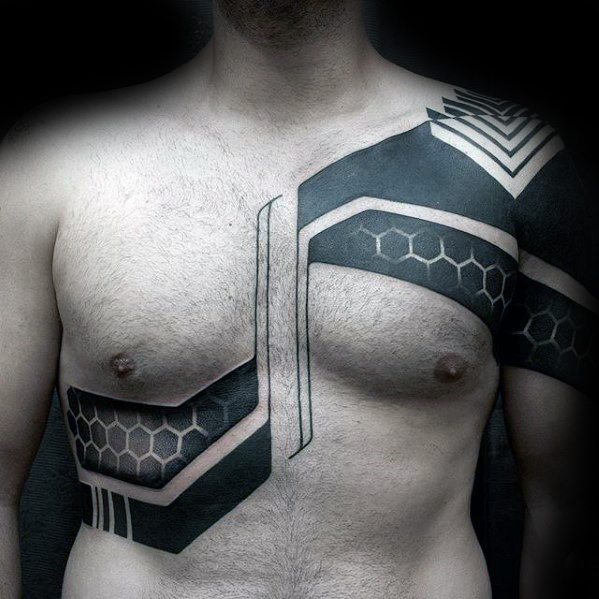 Masculine Blackwork Geometric Chest Tattoos For Men