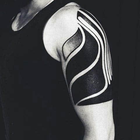 Masculine Blackwork Negative Space Male Tattoos